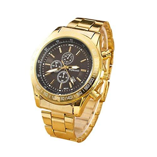 Price comparison product image Men Luxury Wrist Watch,  Napoo Men Stainless Steel Watch Analog Quartz Movement Wrist Watches (C)