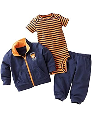 Carters Infant Boys 3 Piece Mommy's Tiger Outfit Sweat Pants Creeper & Jacket