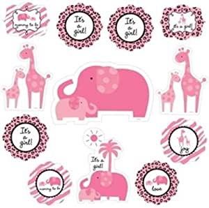 Amscan Sweet Safari Baby Girl Shower Cutouts 12 Pieces - 191131, Pink
