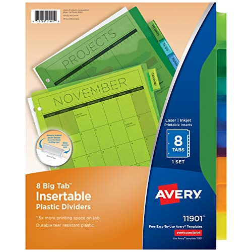 - Avery 8-Tab Plastic Binder Dividers, Insertable Multicolor Big Tabs, 1 Set (11901)