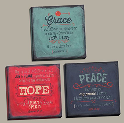 3 Grace Hope Peace Spiritual Inspirational Art Prints Bible Verse Christian; Three 12x12in Hand-Stretched Canvases, Ready to Hang! Red/Blue/Teal
