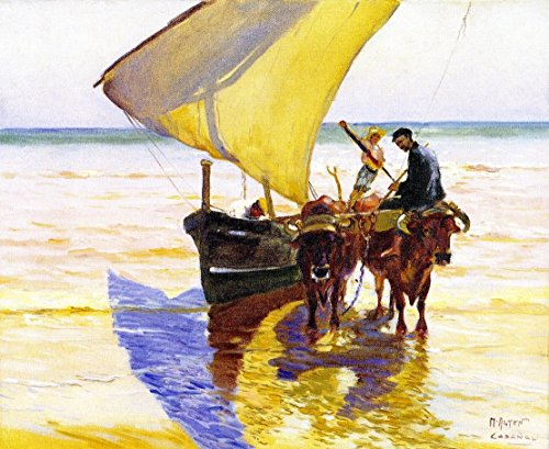 Cutler Miles Sunny Day In Spain by Mathias J. Alten Hand Painted Oil on Canvas Reproduction Wall Art. 30x24 by Cutler Miles