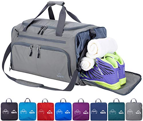 """Venture Pal 20"""" Packable Sports Gym Bag with Wet Pocket & Shoes Compartment Travel Duffel Bag for men and Women-Gray from Venture Pal"""
