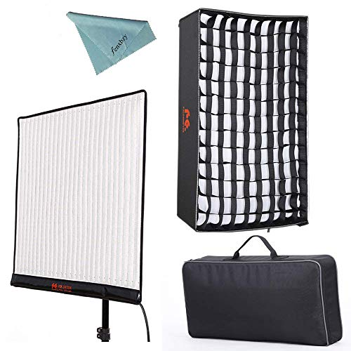 (Falcon Eyes RX-24TDX 150W Roll-flex Photo Light 3000K-5600K Bi-Color LED Photo Light with Honeycomb Grid Softbox Flexible Continuous Output Lighting For Shooting (RX-24TDX+RX-24TDXSBHC))