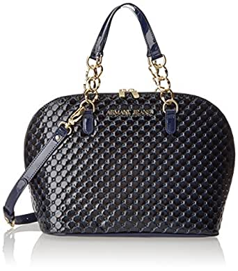 Armani Jeans Quilted Patent Bugatti Shoulder Bag,Blue,One Size