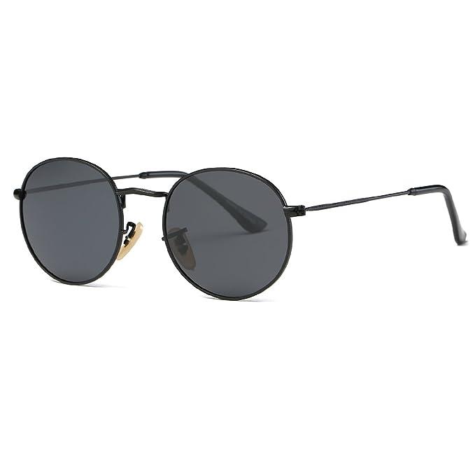 kimorn Polarizado Gafas De Sol Unisex Redondas Metal Marco Almohadillas De Nariz De Silicona K0556 (