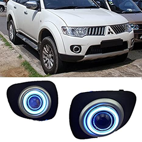 eeMrke ee-fr2015-ae5058 LED Angel Eye Coche DRL 55 W H11 Bombillas halógena luz de niebla para Mitsubishi Pajero Sport II: Amazon.es: Coche y moto