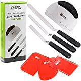7-Piece SET Cake Decorating Supplies & Tools. Premium Offset Icing and Frosting Spatula Set + Dough Bench Scraper + 3 Plastic Scrapers: Bowl Scraper, 2 Sided Decorating Comb and Icing Smoother