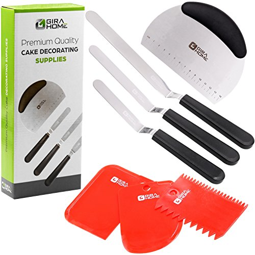 Offset Baking Spatula - 7-Piece SET Cake Decorating Supplies & Tools. Premium Offset Icing and Frosting Spatula Set + Dough Bench Scraper + 3 Plastic Scrapers: Bowl Scraper, 2 Sided Decorating Comb and Icing Smoother