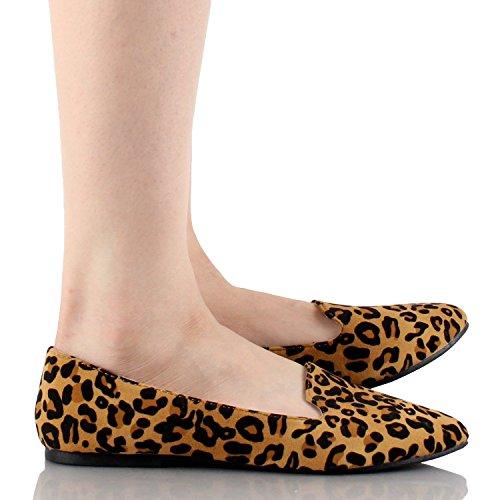 Für immer Frauen Diana-81 Ballett Loafer-Flats Schuhe Leopard Wildleder