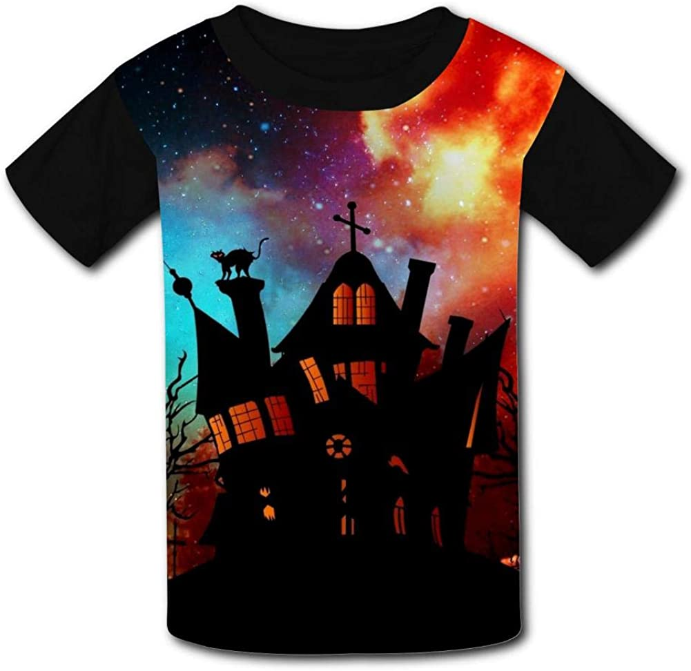 Youth 3D Printed Fantasy Galaxy Halloween Castle Casual T-Shirt Short Sleeve for Kids Creative Graphic Design Summer Tee