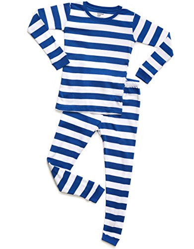 Striped 2 Piece Pajama Set 100% Cotton (3 Toddler, Blue & (White Boys Pajamas)