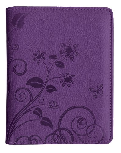 Pierre Belvedere Executive Line Embossed Passport Holder, Organic Flowers, Purple