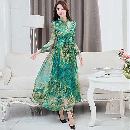 RENQINGLIN Maulbeerseide Kleid Bedruckte Langarm Seidenkleid Weiblich
