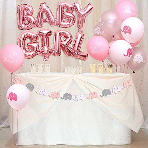 luckylibra Elephant Baby Shower Decorations Girl, Elephant Garland and Elephant Balloons Baby Girl Balloons(Pink White Grey) ()