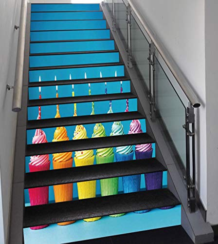 (Stair Stickers Wall Stickers,13 PCS Self-adhesive,Birthday Decorations,Cupcakes in Rainbow Colors with Candles Fun Homemade Party Food Sweet,Multicolor,Stair Riser Decal for Living Room, Hall, Kids)
