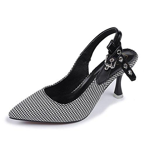 Alta De Después Y Solo Fino Parrilla El Shoes GAOLIM Para Punta Heel Ranura Sandalias Princesa Zapatos Y Zapatos Negro Vacía Señor La wxXqYf6qg