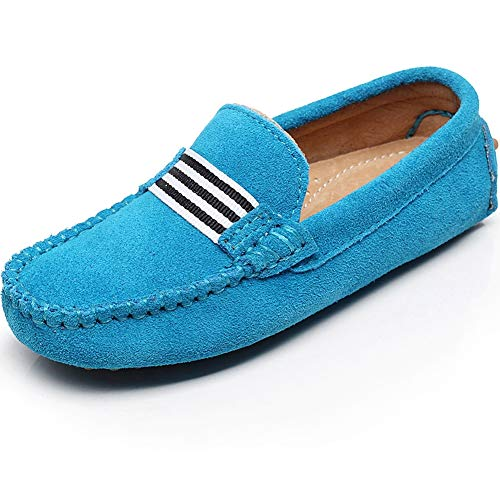- Shenn Boys Girls Fashion Strap Slip-On Sky Blue Suede Leather Loafer Flats 799 US11.5