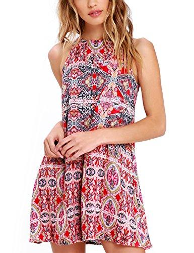 Neck Print Tank Short Halter Casual Loose Women's Red Summer Dress Dress Sleeveless Floral Mini OQC qBSIFwn