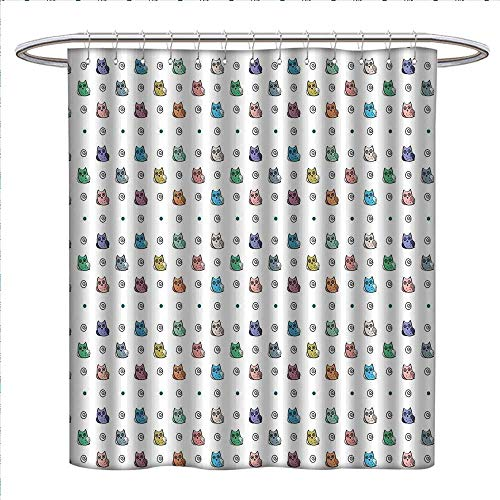 (Kids Shower Curtains Fabric Extra Long Owl Motif with Spiral Circles and Big Eyes Night Animal Nursery Baby Playroom Concept Bathroom Accessories W72 x L84 Multicolor)