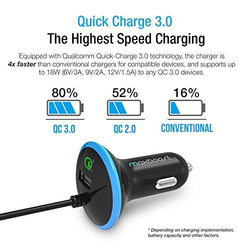 Type C Car Charger, Maxboost 36W Quick Charge 3.0 USB Port + Built-in USB C (3.1) Cable for Galaxy S9 S8 Plus, Note 8, LG G6 G5 V20, HTC 10, Nexus 6P 5X, Macbook, iPhone, OnePlus,Nintendo Switch by Maxboost (Image #3)