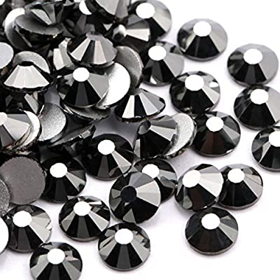 1440 pcs, Jet Black Crystal AB//Crystal Flatback Glass Rhinestones Glue Fix 2.7mm ss10