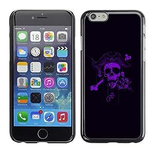 GOODTHINGS Funda Imagen Diseño Carcasa Tapa Trasera Negro Cover Skin Case para Apple Iphone 6 - pirata púrpura capitán miedo negro
