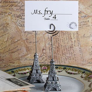 Pewter Place Card Holders (<em>From Paris with Love Collection</em> Eiffel Tower place card holder favors, 80)