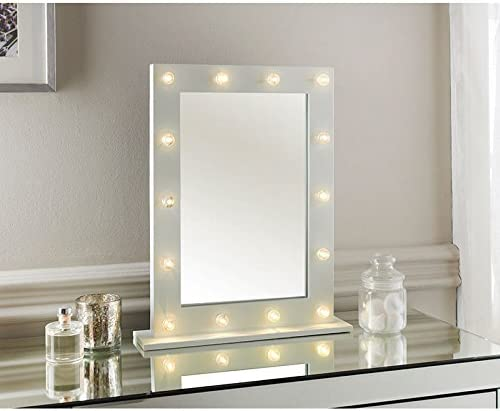 New Hollywood Led Light Detailed Dressing Table Mirror 40 X 50 X 10cm Approx Amazon Co Uk Kitchen Home