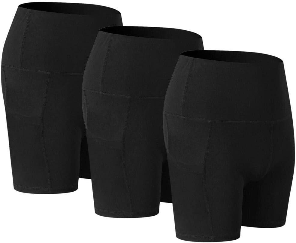 Paquete de 3 Mujeres de la Alta Cintura del Estiramiento del Athletic Entrenamiento Yoga compresi/ón Cortos Pantalones Cortos con Bolsillos para Danza Yoga Ganduleado Fitness