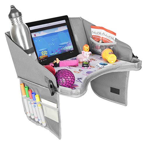 Kids Travel Tray by BonaBee Baby¦Lap Organizer for Car Seat with Cup/iPad/Tablet Holder¦Sturdy Play Table w/ABC Design Enables Snack Eating & Drawing for Kids, Toddlers & Babies¦Stroller Compatible