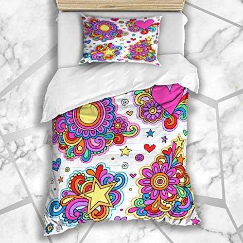 Ahawoso Duvet Cover Sets Twin 68X86 Border Hippy Groovy Psychedelic Doodles Flower Class Heart Sixties Love Peace Design Yearbook Microfiber Bedding with 1 Pillow Shams
