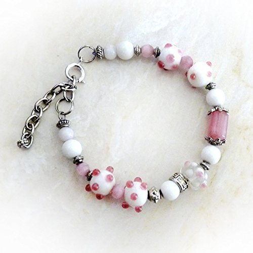 Pink Handmade Bracelet - Pink, White, Antique Silver - Pandora Style Bracelet w Lampworked Beads - Pink Jewelry - Mother's Day Gift, Beaded Bracelet - Gift for Women, Birthday Gift - Adjustable, M-L
