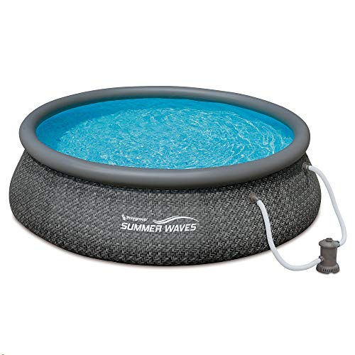 Summer Waves 12ft x 36in Quick Set Ring Above Ground Pool with Pump, Dark Wicker