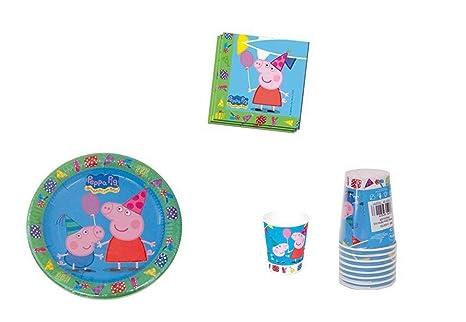 """Lote de Cubiertos Infantiles Desechables Decorativos """"Peppa Pig"""" (40 Vasos, 40"""