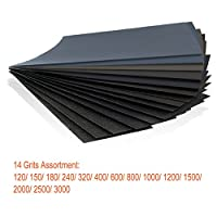 Wet Dry Sandpaper 120 to 3000 Grit Assortment 9 * 3.6 Inches Abrasive Paper Sheets for Automotive Sanding, Wood Furniture Finishing, Wood Turing Finishing