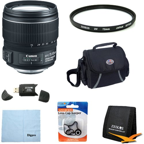 Canon EF-S 15-85mm f/3.5-5.6 IS USM UD Wide Angle Zoom Lens for Canon Digital SLR Cameras w/ 72mm Multicoated UV Protective Filter, Deluxe Bag, Lens Cap Keeper, Microfiber Cleaning Cloth, Memory Card Wallet, USB 2.0 Card Reader by Beach Camera
