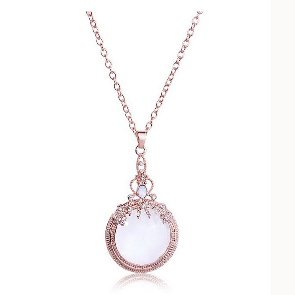 TZSJGL Women Girl Vintage Ornate Magnifying Glass Long Pendant Necklace 31'' (Rose Gold)