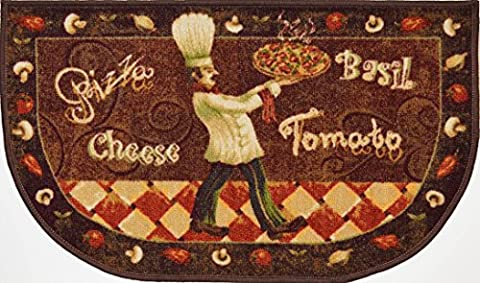 LIVING CLASSICS KITCHEN RUG, PIZZA CHEF HALF MOON SLICE MAT - Slice Kitchen Rug