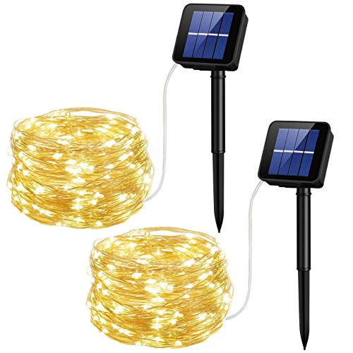 KOMOON Solar String Lights 2 Pack 200 LED Silver Wire Waterproof Starry Fairy Lights for Garden Patio Yard Bedroom Lawn Xmas Tree Party Holiday Wedding Decor (Warm White)