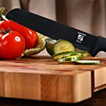 "6"" Ceramic Blade Chef's Knife by Sharp Box - Professional Quality with U-Shaped Ergonomic Handle - Eco-Friendly Product - BLACK Blade 13 EFFORTLESS CUTTING - Our black, 6 inch, professional grade, CERAMIC utility knife is ultra-sharp. This Japanese inspired chef knife delivers smooth, high-precision chopping, mincing, slicing, and dicing power. The serrated blade is no match for bread, bagels, tomatoes, fruits, and vegetables. A must have for any amateur or seasoned chef and a needed addition to any kitchen flatware set. NO SHARPENING - Our high tech ceramic blade is ground to microscopic precision by diamond wheels for a rock-like edge that is 10x sharper than stainless steel and will not dull for years. This RAZOR like edge retention means no sharpening for years to come. WORRY FREE AND EASY TO CLEAN - Less exposure to germs and bacteria because ceramic is NON-POROUS and chemically stable. And, unlike metal blades, our pure ceramic blades are rust and corrosion free. Our super sharp, ceramic knives don't react chemically with acids, oils, salts, or juices that can change the flavor of your food like steel knives do. Not only will this knife not leave your food with a metallic taste as others might, it also wipes away and cleans in seconds!"