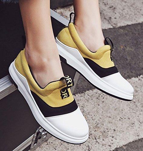 Sfnld Donna Casual Tacco A Zeppa Punta Rotonda Slip On Sneakers Mocassini Scarpe Gialle