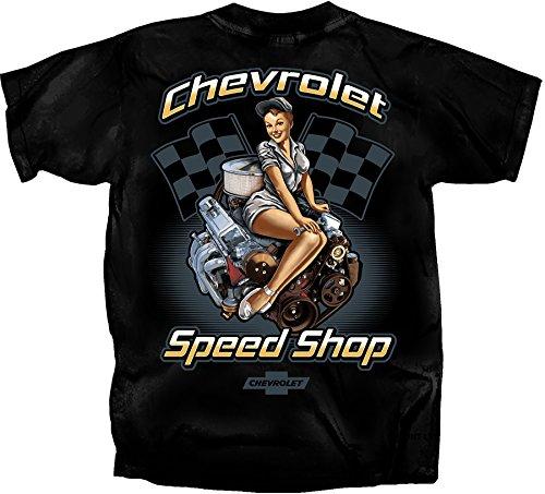 Girl Shop - Gildan Men's Chevrolet Speed Shop Pin-up Girl T-Shirt, Large, Black