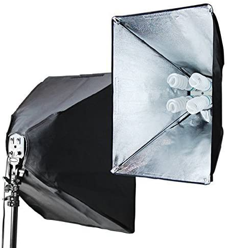 AGG847 LimoStudio 1600 Watt Photo Studio Lighting Softbox Video Light Kit and Carry Case with 16x24-Inches Softboxes and 8pcs 45W 6500k Bulbs