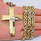 Gold Silver Byzantine Box Mens Chain Stainless Steel Cross Pendant Necklace 24'-30' (26 Inch)