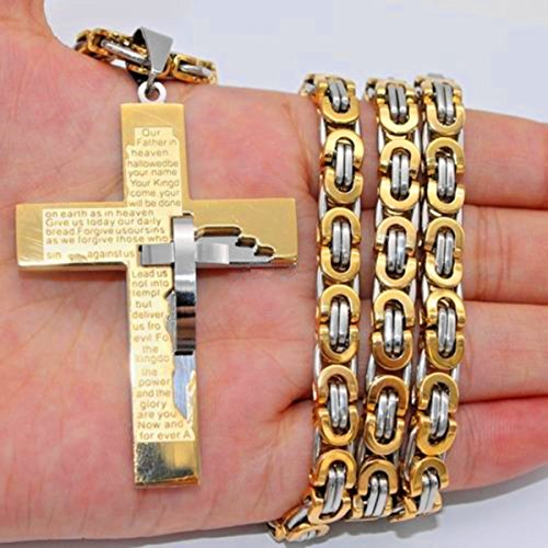 Gold Silver Byzantine Box Mens Chain Stainless Steel Cross Pendant Necklace 24