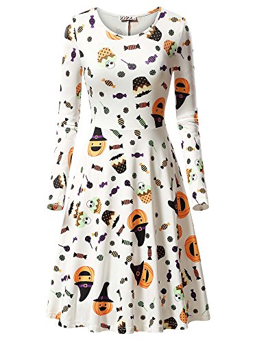 KIRA Casual Dress, Women's Halloween Candy Pumpkin Skull Printed Dress 17049-7 -