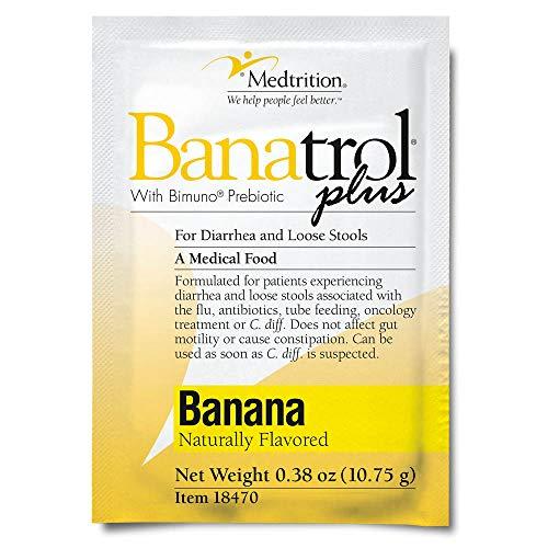Fast Natural Anti-Diarrhea Medicine Relief Kids, Adults |Banatrol Plus| Banana Flakes and Prebiotic| 75 doses