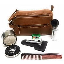 Matte Butterfly Dopp Kit - Travel Shaving Brush & Soap, Hair Comb, DE Razor Case, 5 Pack of Blades + Cognac Toiletry Bag