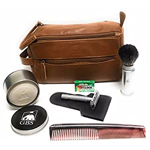 "GBS Men's Shaving Set Travel Kit Dopp Toiletry Bag, Pure Badger Travel Shave Brush Silver Case Chrome Butterfly Double Edge Razor, 7"" Hair Dressing Comb, Wet Shave Soap Metal Tin + Cover & DE Blades!"